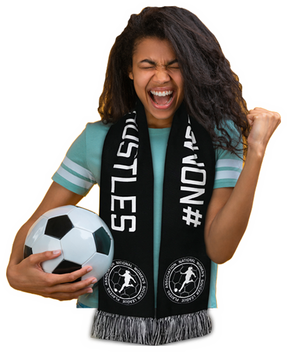 Girl holding a soccer ball and wearing a No More Side Hustles scarf